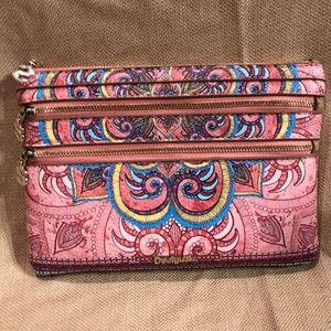 Desigual pvc print wallet pink, blue & yellow
